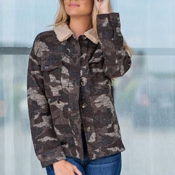 Up In The Mountains Camo Jacket : Dark Green/Brown
