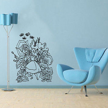 Wall Mural Vinyl Sticker Decal little girl extraordinary country flowers  DA1225