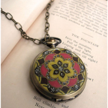 The Adella Large Enamel Pocket Watch necklace by sodalex on Etsy