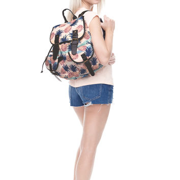 Retro Pineapple Printed Canvas Backpack for Women & Girls Boys Casual Book Bag Sports Daypack