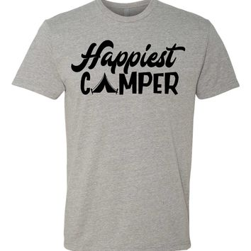 Happiest Camper Tshirt  Ladies or Unisex Fit!- camping tee- group camp - summer camp - family reunion camping shirt.