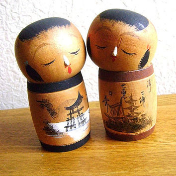 Japanese Kokeshi Doll Vintage Cute Girls by VintageFromJapan