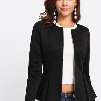 Zip Up Box Pleated Peplum Jacket -SheIn(Sheinside)