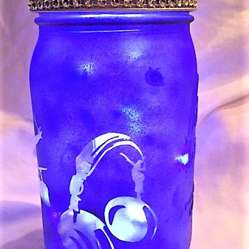 Music Mason Jar Night Light, Lantern, Music Note Room Decor, Luminary Jar, Childrens Room Decor, College Student Gift, Gifts for Children