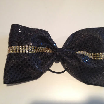 LARGE Black & Gold Rhinestone Concert Cheer  Cheerleading Dance Ribbon Bow Ribbon