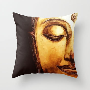 Buddha Meditation Throw Pillow by Maioriz Home