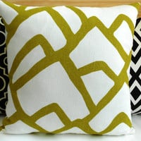 Green modern abstract decorative pillow cover,  chartreuse schumacher zimba pillow