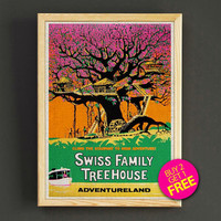 Vintage Disneyland Attraction Poster Reprint Swiss Family Treehouse Print Home Wall Decor Gift Linen Print - Buy 2 Get 1 FREE - 366s2g