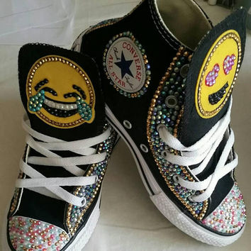 Girls Custom Bling Emoji Converse Sneakers-Emoji - Minnie Mouse- Hello  Kitty- Frozen df4944a21831