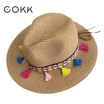 COKK Summer Hats For Women Straw Wide Brim Color Tassel Chain Men Panama Beach Bucket Sun Hat Lady Floppy Chapeu Feminino Fedora