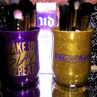2PC set Wake Slay Pray Repeat Makeup Brush Holders - YOU CUSTOMIZE!