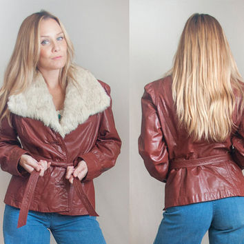 70s Oxblood Leather Fur Jacket Womens S Small M Medium | Fur Trim Large Fur Collar Genuine Leather Blazer Coat | Disco Brown Leather Jacket