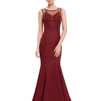 Evening Dresses HE08358BK Ever Pretty Elegant Round Neck Mermaid Maxi Prom Dresses Long Lace