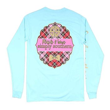 Long Sleeve Plaids Tee in Marine by Simply Southern