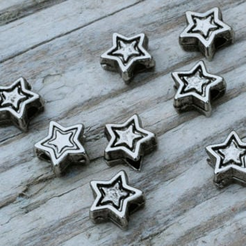 Antique Silver Star Spacer Beads 6mm Pack of 8 Jewellery Findings Jewellery Making diyforstyle