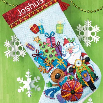 """Santa's Sidecar Stocking (14 Count) Dimensions Counted Cross Stitch Kit 16"""" Long"""