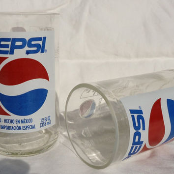 Upcycled Glasses made from Pepsi Bottles Set of 2