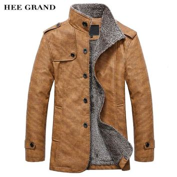 HEE GRAND Men's PU  Leather Jackets & Coats New Arrival Winter Thick Casual Jaqueta Masculino M-4XL Size 2 Colors MWJ564