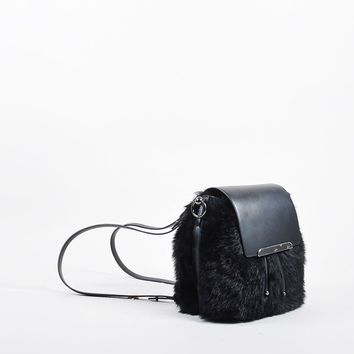 DCCK Black Leather and Faux Fur Christian Louboutin  Lucky L  Bucket Backpack
