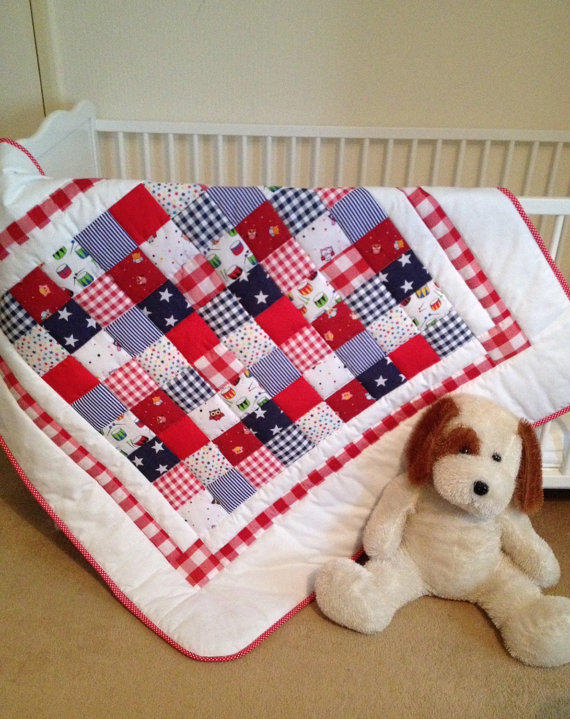 Baby Crib Quilt Red White Blue Baby From Angiespatch