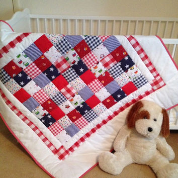 Baby crib quilt~ red~ white~ blue~ baby patchwork quilt~ boy quilt~ gingham~ quilted baby blanket~ baby quilt handmade~ handmade cot quilt