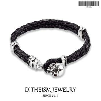Woven Leather Wrap Bracelets Skull with Toggle Crap, 2018 New Silver Fashion Jewelry Punk Gift for Men Boy Women Girls