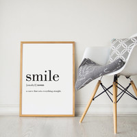 Printable Wall Art Prints, Instant Download Printable Art, Printable Quotes, Digital Print, Digital Download, Definition Print, Smile