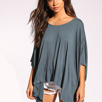 Teal Jersey Knit Dolman Top