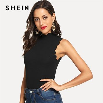 SHEIN Black Elegant Solid Button Scallop Trim Keyhole Back Stand Collar Tank Summer Women Sexy Casual Vest