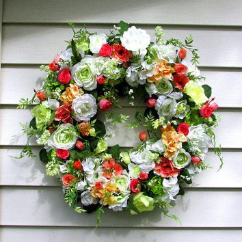 Spring floral wreath, shabby chic wreath, french country cottage, elegant wreath, beautiful wreaths, Summer wreath, country home decor