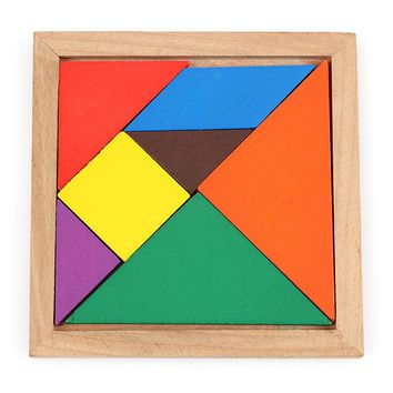 Quality Children Intellectual Development Tangram Wooden Jigsaw Puzzle Brain Training Educational Toys for Kids Free Shipping