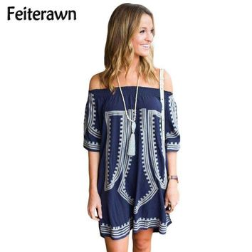 PEAPGC3 Feiterawn 2017 Women Sexy Cotton Pareo Geometric Print Half Sleeve Off The Shoulder Mini Beach Dress Cover Up Swimsuit DL42149
