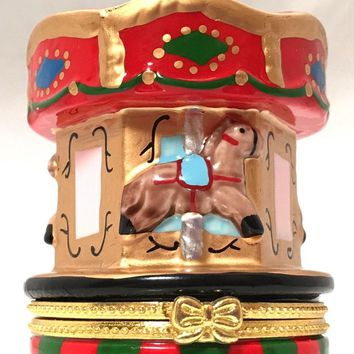 Carousel with Horses Merry Go Round Miniature Porcelain Trinket Box 3.5H