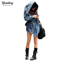 Women Denim Jeans Coat Jacket 2017 New Women Jeans Coats Vintage Long Sleeve Slim Hoody Plus Size Hooded Coat Roupas Femininos