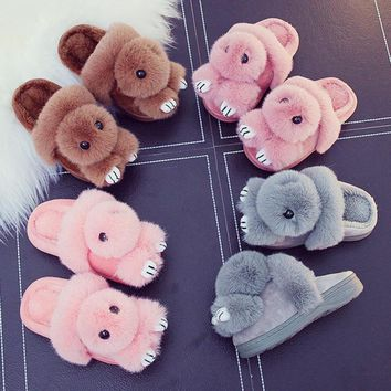 Winter children slippers warm Plush Pompon Bunny kids slippers Home Shoes Cartoon Pompom rabbit boys girls Indoor Slippers R4