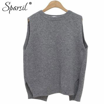 Sparsil Women Winter&Autumn O-Neck Cashmere Blend Sleeveless Vest Sweater Korean Style Fashion Lady Knitwear Jumper
