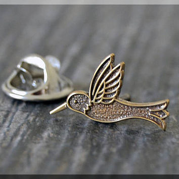 Brass Hummingbird Tie Tac, Bird Lapel Pin, Hummingbird Brooch, Gift for Him, Gift Under 10 Dollars, Tie Tack, Bird Gift, Nature Lapel Pin