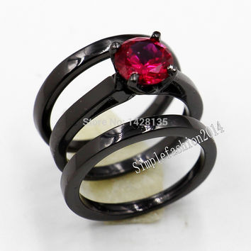 Victoria Wieck lady career style Engagement 10KT Black Gold Filled Red Ruby Diamond 3 Wedding Band Ring sets Sz 5-11 Gift