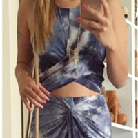 Mountain Blue Tie Dye Crop Top