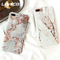LOVECOM Vintage Granite Stone Marble Texture Pattern Phone Cases For iPhone 6 6s 7 8 Plus X Matte Hard Plastic Back Cover Coque