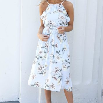 Remember This Blue Floral Maxi Dress