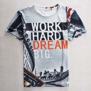Plus Size S-3XL Work Hard Dream Big  Unisex 3d Printed T Shirts Cool Slim Fit hip hop short sleeves o neck Casual 3D Tee Shirts New Summer fashion for men women  [10312512451]