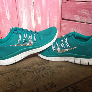 Blinged Nike Free Run 5.0+ Running Shoes Teal Green Customized With Swarovski Crystal Rhinestones Bling Nike