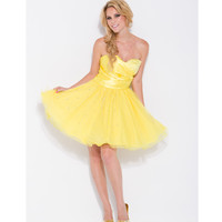 2014 Prom Dresses - Yellow Gathered Satin & Beaded Tulle Strapless Sweetheart Dress