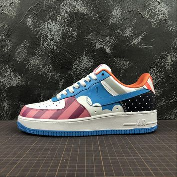 Nike Custom Air Force 1 Low AF1 White Blue Parra Sport Shoes - Best Online Sale