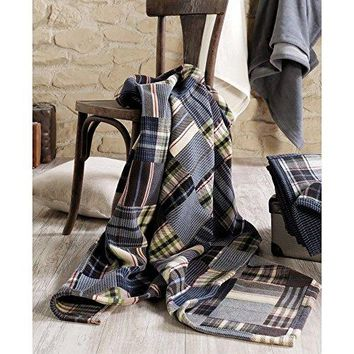 Ben and Jonah Patchwork Plaid Oversized Throw Blanket