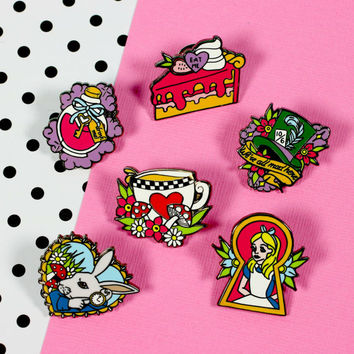 Alice Enamel Pin Set // Alice in Wonderland lapel pins, hard enamel pin