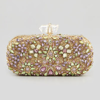 Marchesa Lily Crystal Embroidered Box Clutch Bag, Gold/Multi