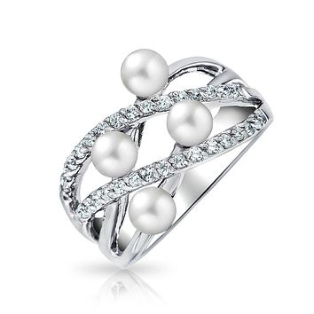 Crossover Criss Cross White Simulated Pearl Band Ring Sterling Silver