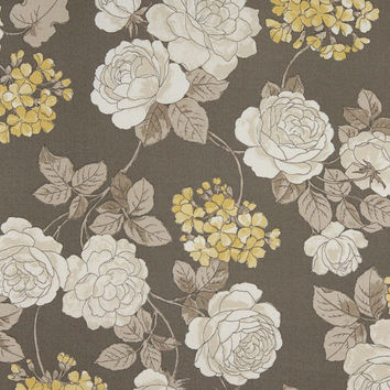 Grey, White And Gold Floral, Indoor And Outdoor Multipurpose And Upholstery Fabric By The Yard